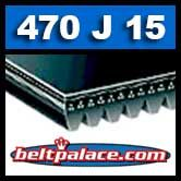 470J15 Poly-V Belt, Industrial Grade. Metric 15-PJ1194 Motor Belt.