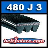480J3 Poly-V Belt, Industrial Grade Metric 3-PJ1219 Motor Belt.