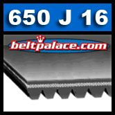650J16 Poly-V Belt, Metric 16-PJ1651 Motor Belt.