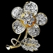 * Antique Silver Clear Rhinestone Flower Brooch Pin 94