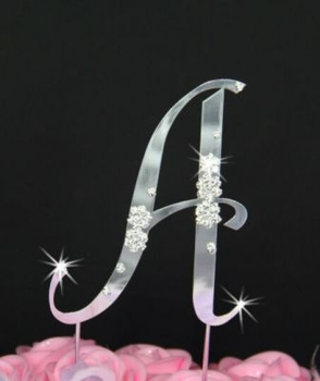 French Flower ~ Swarovski Crystal Wedding Cake Topper ~ Silver Letter A