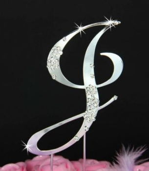French Flower ~ Swarovski Crystal Wedding Cake Topper ~ Silver Letter J