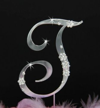 French Flower ~ Swarovski Crystal Wedding Cake Topper ~ Silver Letter T