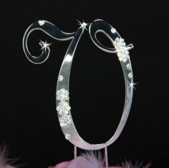 French Flower ~ Swarovski Crystal Wedding Cake Topper ~ Silver Letter V