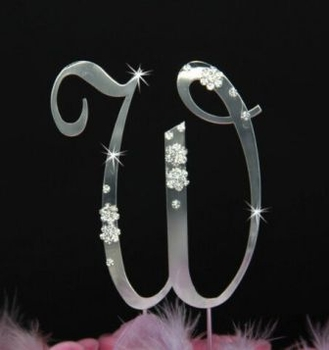 French Flower ~ Swarovski Crystal Wedding Cake Topper ~ Silver Letter W