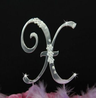 French Flower ~ Swarovski Crystal Wedding Cake Topper ~ Silver Letter X