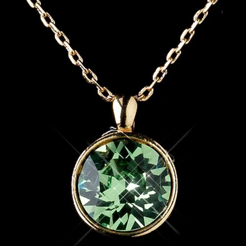 Gold Peridot Round Swarovski Element Crystal Jewelry Set 9600