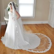Single Layer Cathedral Length Rhinestone & Pearls Veil With Floral Embroidery V 1183 1C