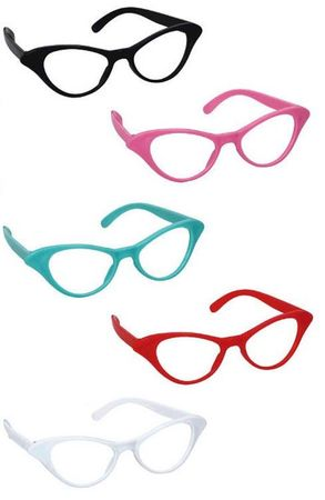 10-Pack 50s Style Cat Eye Glasses