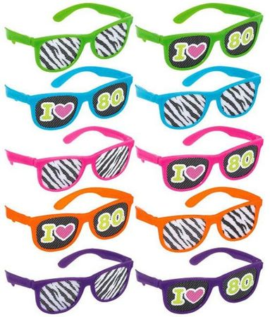 10-Pack Retro 80's Glasses