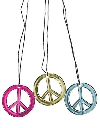 12-Pack Metallic Peace Sign Necklaces