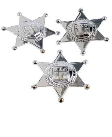 12-Pack Silver Sheriff Badges