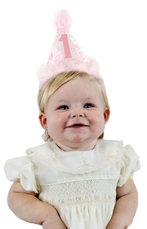 1st Birthday Pink Cone Hat