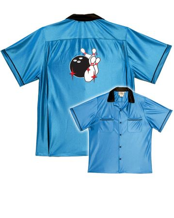 Adult 50's Classic Pin Splash Bowling Shirt - White/Black
