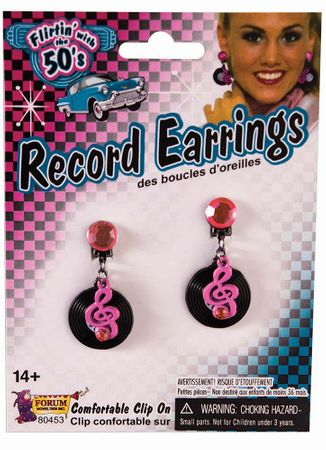 50s Music Note  Record Earrings