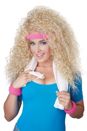 80's Let's Get Physical Blonde Wig and Sweatbands