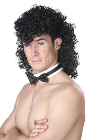 80's Girls' Night Out Black Curly Mullet Wig
