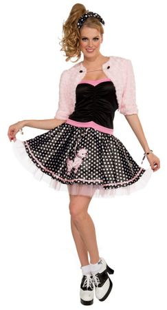 Adult 50's Deluxe Poodle Skirt and Shrug Costume, Size M/L