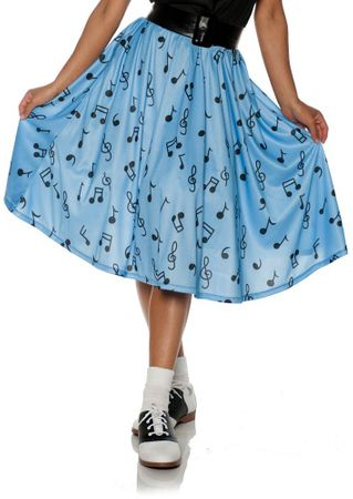 Adult 50's Blue Music Note Skirt