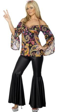 Adult 60's Paisley Top and Black Bell Bottom Pants