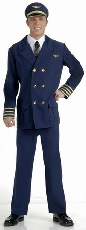 Adult Airline Pilot Uniform Costume, Size M/L