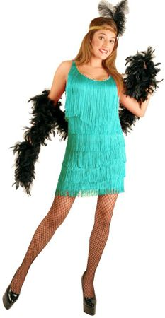 Plus Size Women's Aqua Flapper Costume