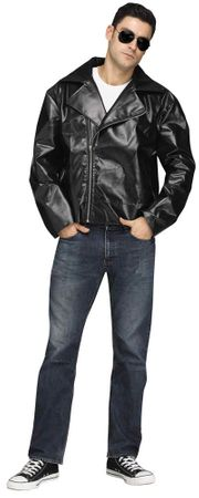 Adult Black 50's Faux Leather Jacket