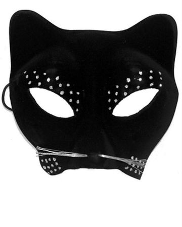 Adult Black Cat Mask with Glitter