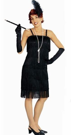 Adult Black Charleston Flapper Costume, Size S/M