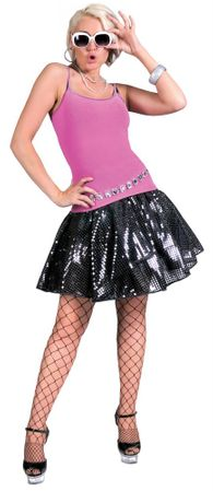 Adult Black Diamond Sequin Disco Skirt