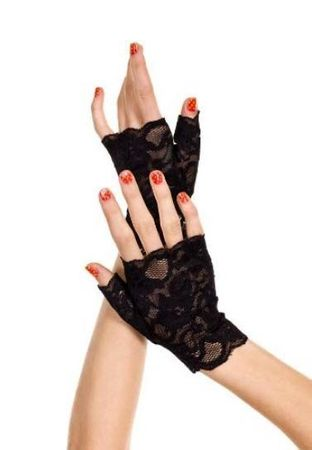 Adult Black Fingerless Stretch Lace Gloves