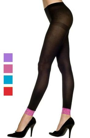 Adult Black Footless Tights with Contrasting Color Lace Trim