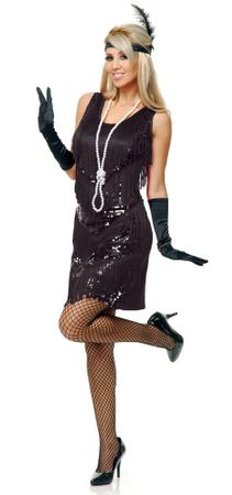 Adult Black Four-Tiered Flapper Costume