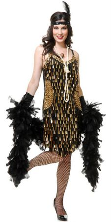 Adult Black/Gold Teardrop Mirror Sequin Flapper Costume