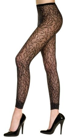 Adult Black Lace Footless Tights