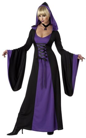 Adult Black/Purple Hooded Robe Costume