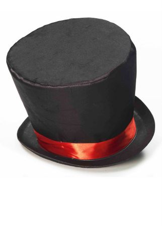 Adult Black with Red Band Mad Hatter Top Hat
