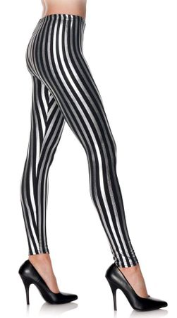 Adult Black/Silver Striped Leggings, Size S/M