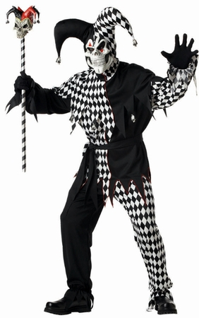 Adult Black/White Evil Jester Costume