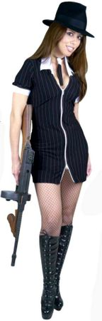 Adult Black/White Gangster Moll Costume, Size Small