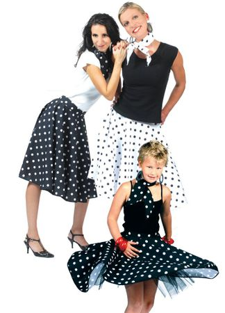 Adult Black/White Polka Dot Sock Hop Skirt