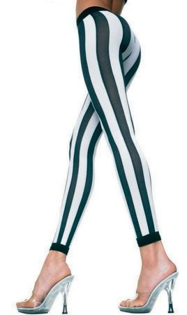 Adult Black/White Vertical Striped Footless Tights