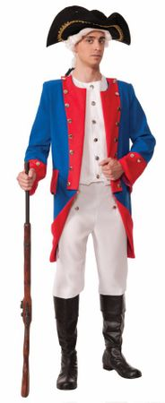 Adult Blue/Red Colonial General Costume, Size M/L