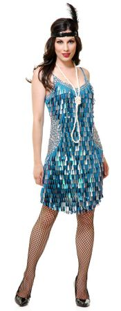 Adult Blue/Silver Teardrop Mirror Sequin Flapper Costume
