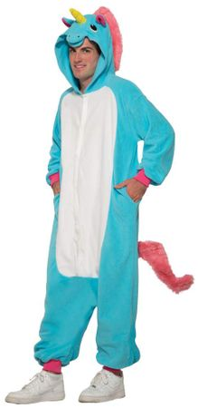 Adult Blue Unicorn Onesie Costume