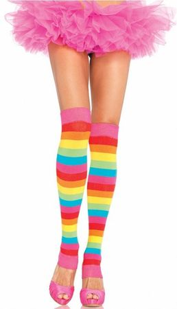 Adult Bright Rainbow Leg Warmers