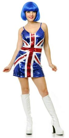 Adult British Flag Sequin Dress Costume
