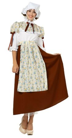 Adult Brown Floral Colonial Woman Costume