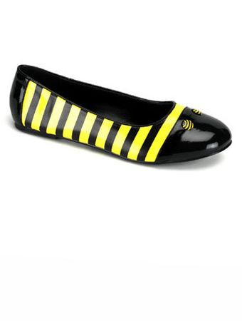 Adult Bumble Bee Ballet Flat Shoes, Size 6
