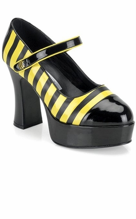 Adult Bumble Bee Platform Mary Jane Shoes, Size 6